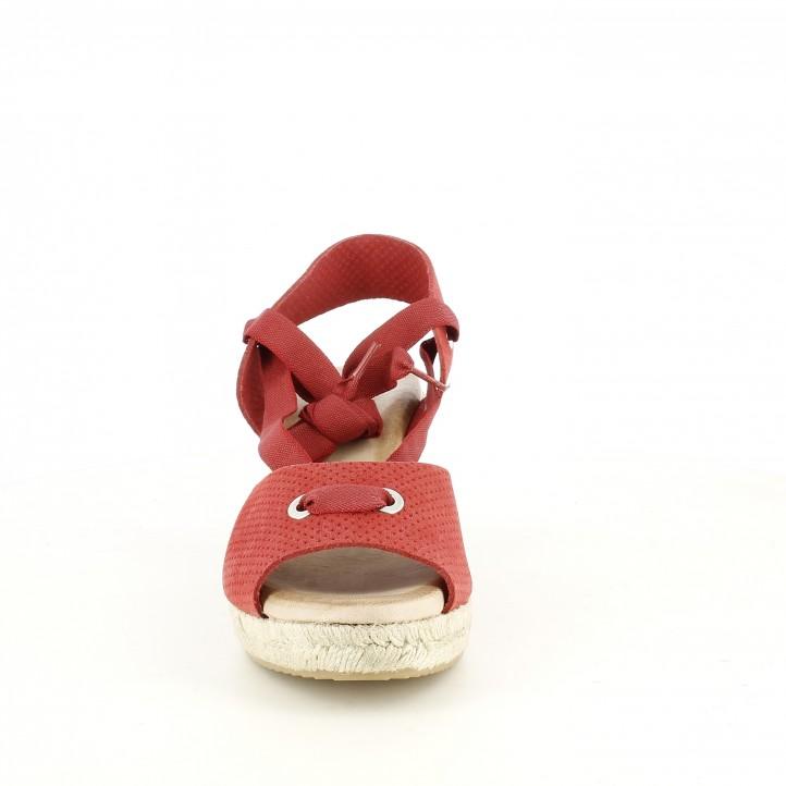 Sabates de falca Redlove vermelles de pell amb tires i plataforma d'espart - Querol online