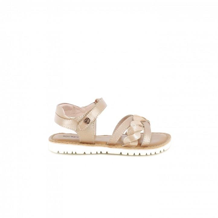 sandalias Kickers rosas de piel con detalle trenzado - Querol online