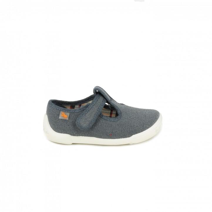 Zapatos Vul·ladi azul marino con suela de piel y velcro - Querol online