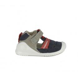 sandalias Biomecanics cerradas azules, grises y rojas con suela de piel - Querol online