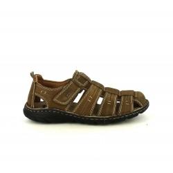 Sandalias T2in marrones de piel cerradas con velcro - Querol online