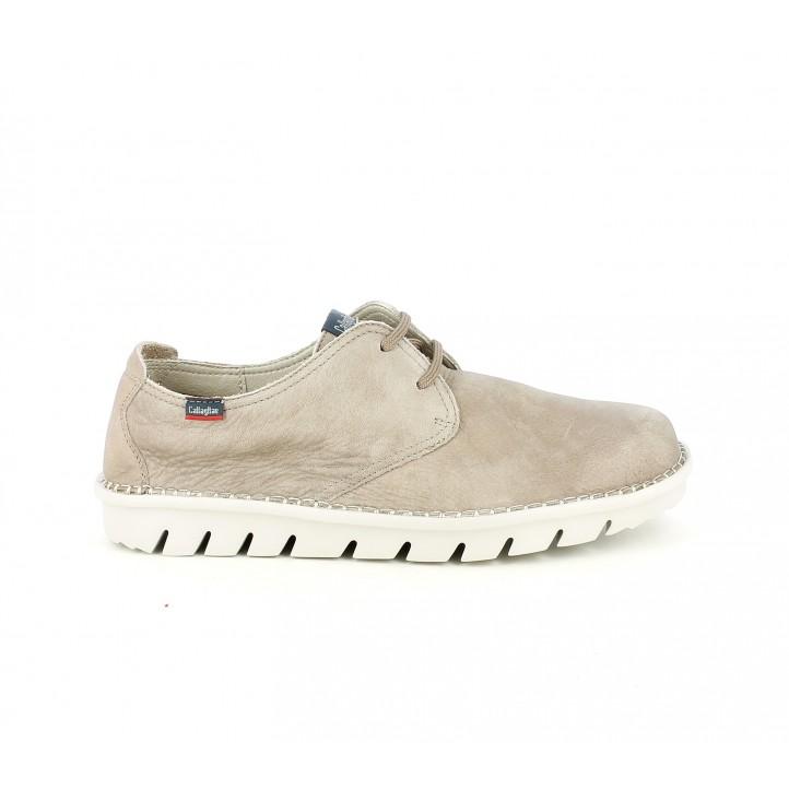 Zapatos sport Callaghan marrón de piel con cordones - Querol online