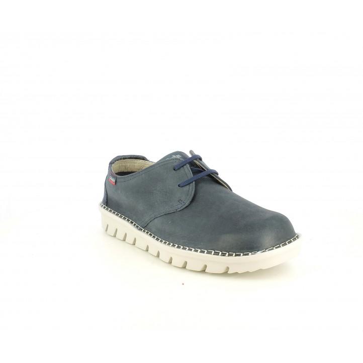 Zapatos sport Callaghan azul marino de piel con cordones - Querol online