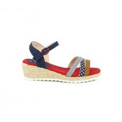 sandalias Mustang azules, rojas y blancas con plataforma de esparto - Querol online