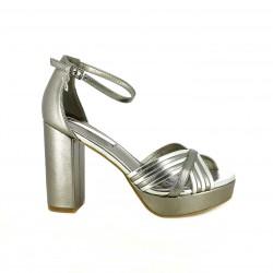 Sandalias tacón Xti grises metalizadas con tiras cruzadas - Querol online