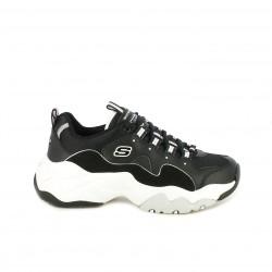 Zapatillas deportivas Skechers d'lites 3.0 negras con suela blanca - Querol online