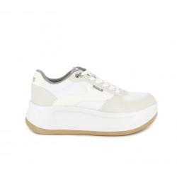 8875c3505cf Zapatillas deportivas Mustang blancas con cordones y plataforma - Querol  online