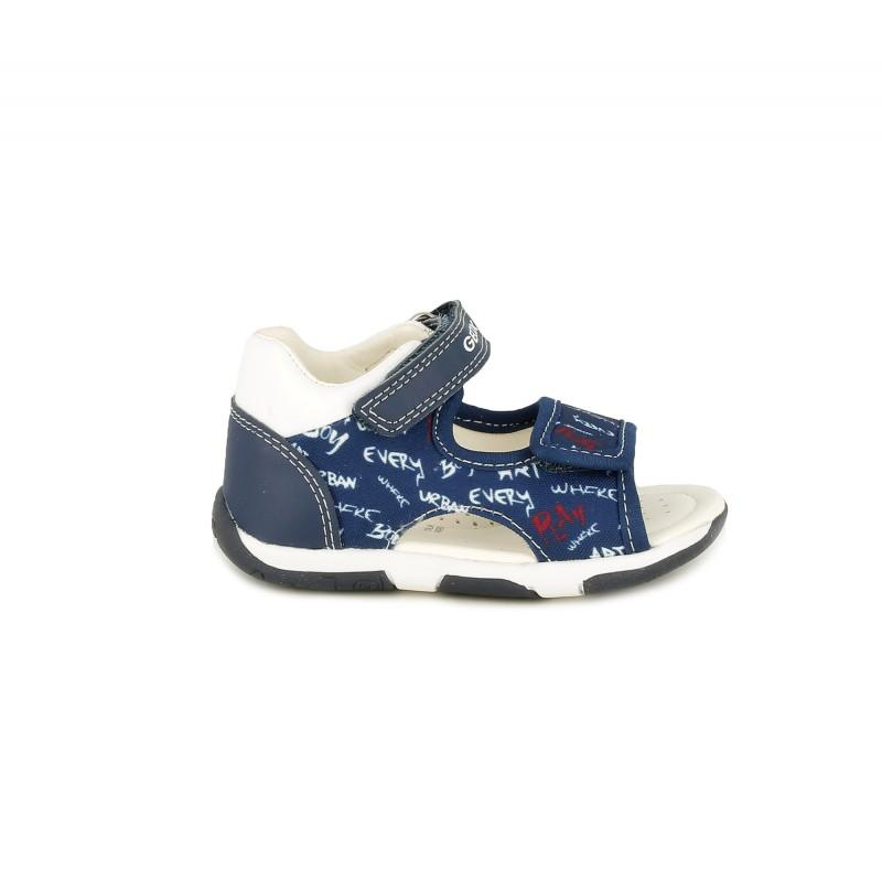 Piel Estampadas De Suela Sandalias Con Azules GeoxQuerolets bgf67y