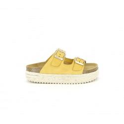 sandalias QUETS! amarillos de piel con plataforma de esparto - Querol online