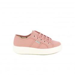 Zapatillas lona Victoria rosas de cordones con plataforma - Querol online