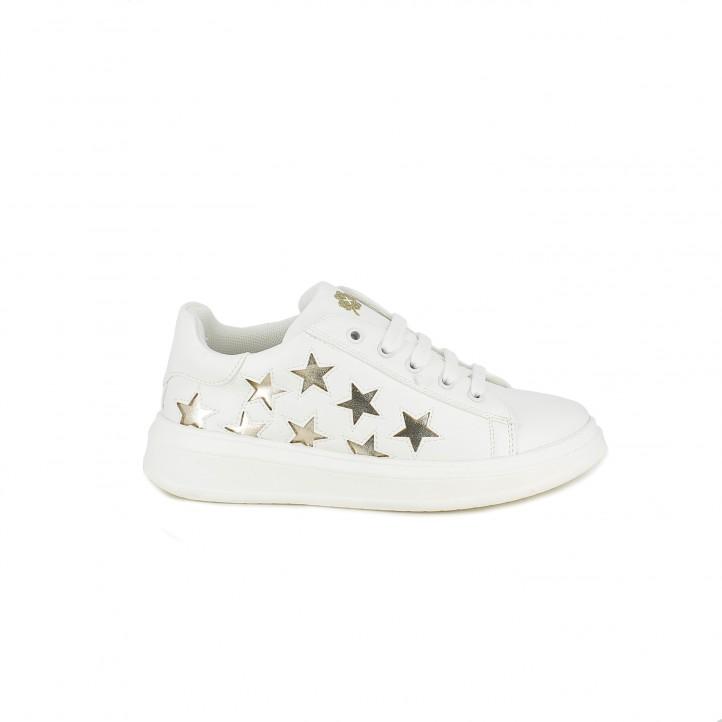 Zapatillas deporte QUETS! blancas con estrellas doradas y cordones - Querol online