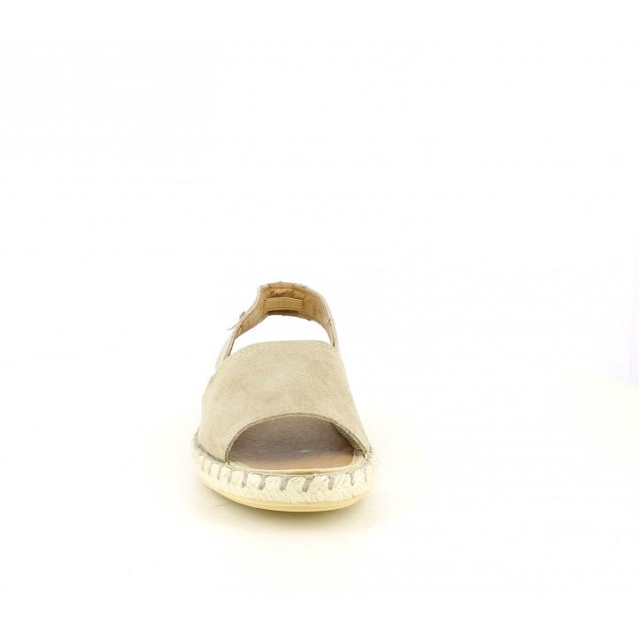 Sandalias planas VERBENAS taupe de piel con suela de esparto - Querol online