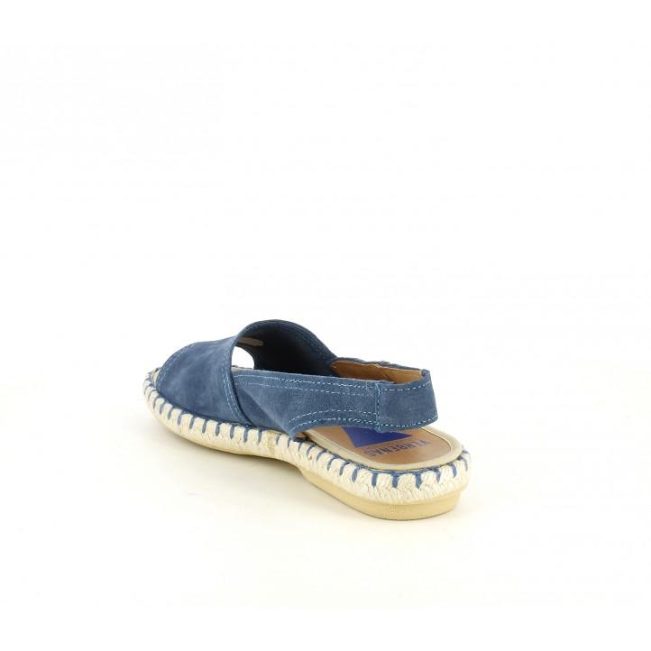 Sandàlies planes VERBENAS blaves de pell amb sola d'espart - Querol online