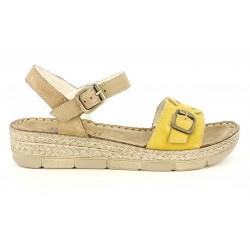 Cuñas Walk & Fly marrones y amarillas de piel con hebillas - Querol online
