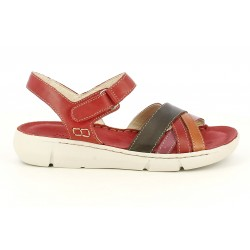Sandalias planas Walk & Fly rojas de piel con tiras y velcro - Querol online