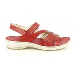 Sandalias planas Walk & Fly de piel rojas con tiras y dos velcros - Querol online