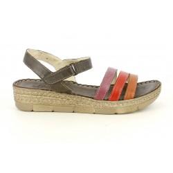 Cuñas Walk & Fly marrones de piel con tiras de colores - Querol online