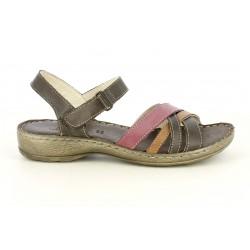 Sandalias planas Walk & Fly de piel marrones con tiras cruzadas de colores - Querol online