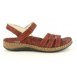 Sandalias planas Walk & Fly de piel rojas con tiras y velcro - Querol online