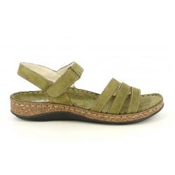 Sandalias planas Walk & Fly de piel verdes con tiras y velcro - Querol online