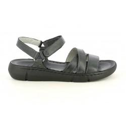 Sandalias planas Walk & Fly de piel negras con tiras cruzadas y velcro - Querol online