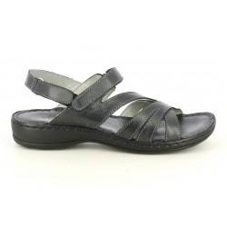 Sandalias planas Walk & Fly de piel negras con tiras y dos velcros - Querol online