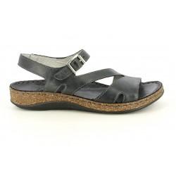 Sandalias planas Walk & Fly negras de piel con hebilla plateada - Querol online