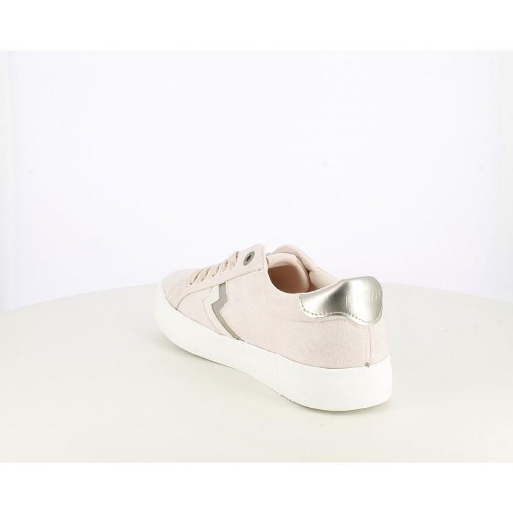 Zapatillas deportivas Mustang rosas brillantes con rayo y cordones - Querol online