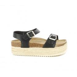 Sandalias planas Owel negras cerradas con doble hebilla y plataforma de esparto - Querol online