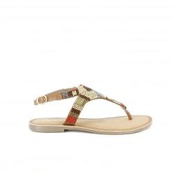 Sandalias planas Gioseppo marrones de piel con abalorios - Querol online