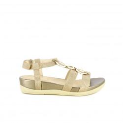 Sandalias planas STONEFLY cerradas doradas de piel con velcro y tiras - Querol online