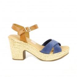 Sandalias tacón Redlove con tiras azules y marrones - Querol online
