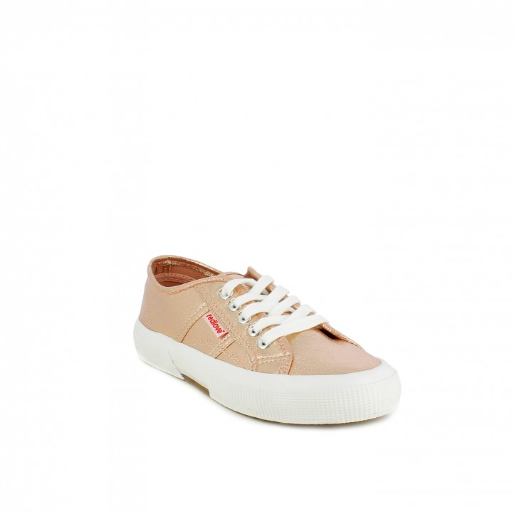 Zapatillas lona Redlove rosa metalizado con cordones - Querol online
