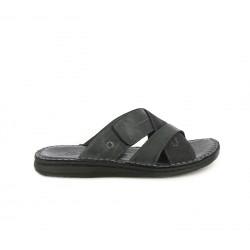 Sandalias Walk & Fly negras de piel abiertas con tiras cruzadas - Querol online