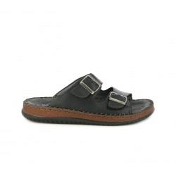 Sandalias Walk & Fly negras de piel abiertas con doble hebilla - Querol online