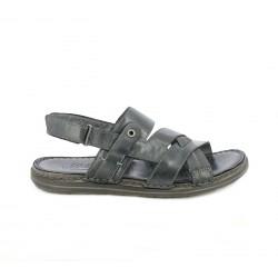 Sandalias Walk & Fly negras de piel con velcro - Querol online