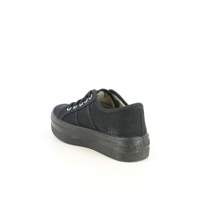 Zapatillas lona Victoria negras de cordones con plataforma - Querol online