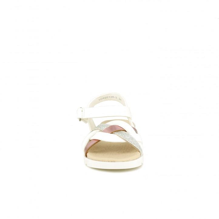 sandalias QUETS! blancas con detalle trenzao y velcro - Querol online