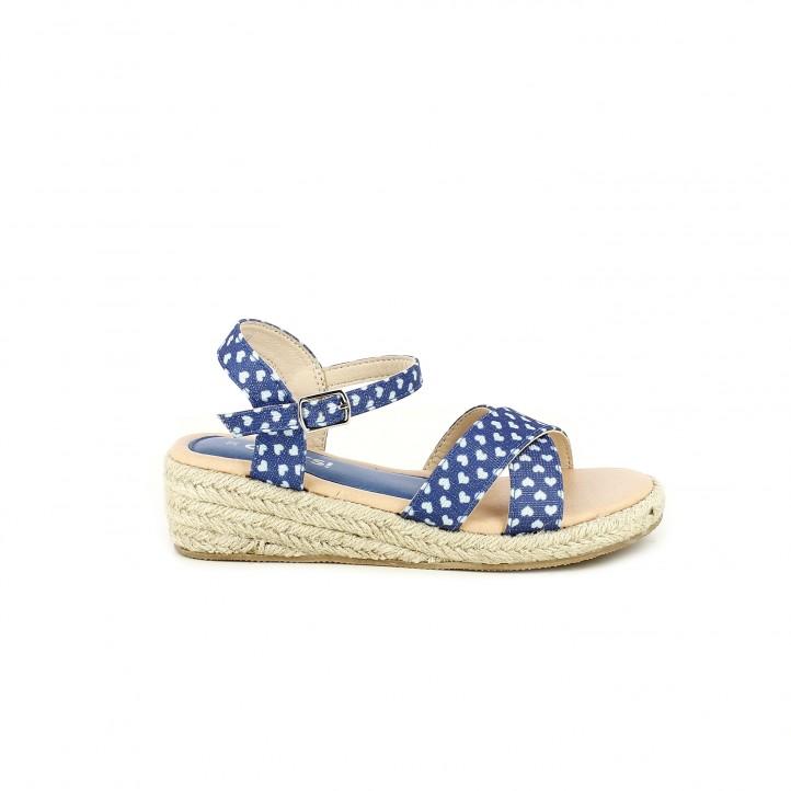 sandalias QUETS! azules con estampado de corazones, con plataforma de esparto y hebilla - Querol online