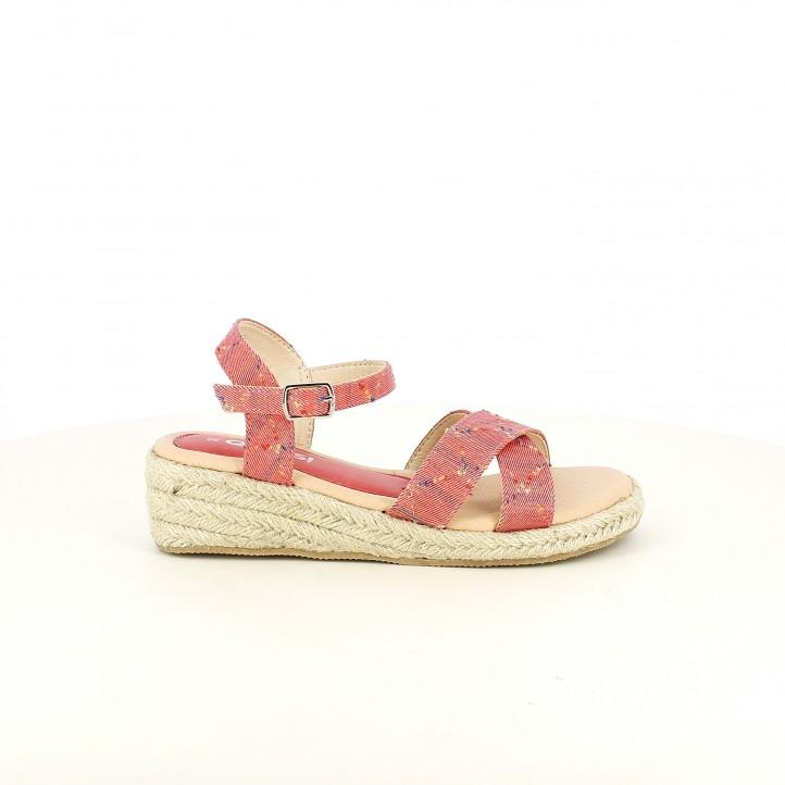 sandalias QUETS! rojas con estampado de cuadros, con plataforma de esparto y hebilla - Querol online
