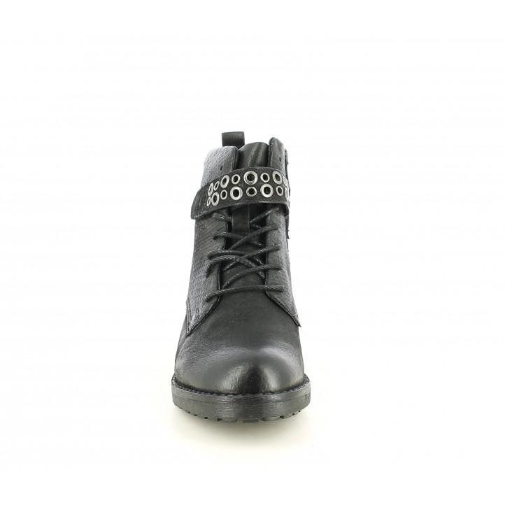 Botines tacón Mjus negros de piel con cordones y detalles serpiente - Querol online