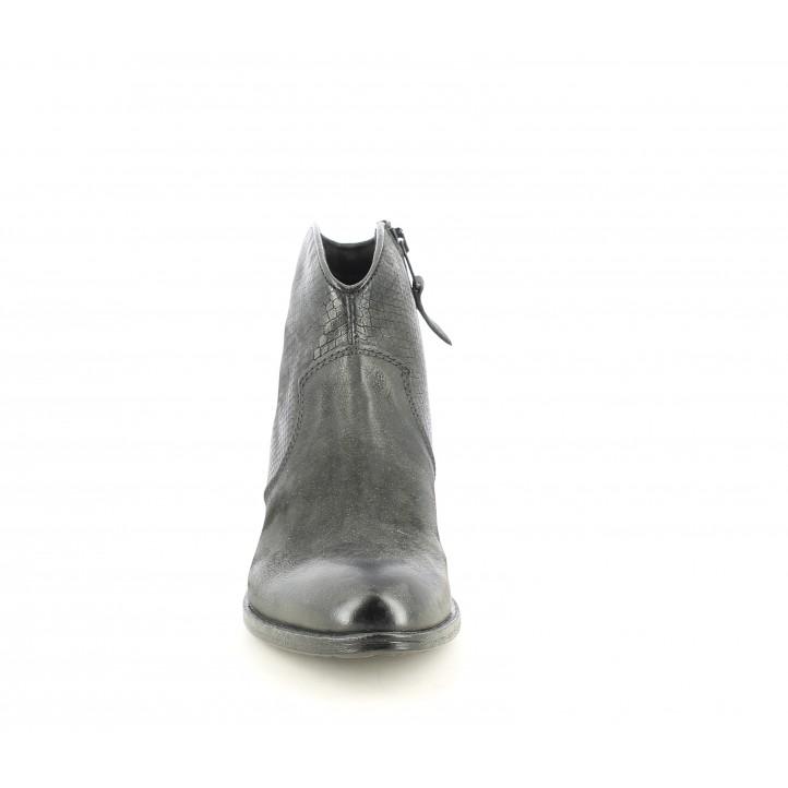 Botines tacón Mjus negros de piel estilo cow boy - Querol online
