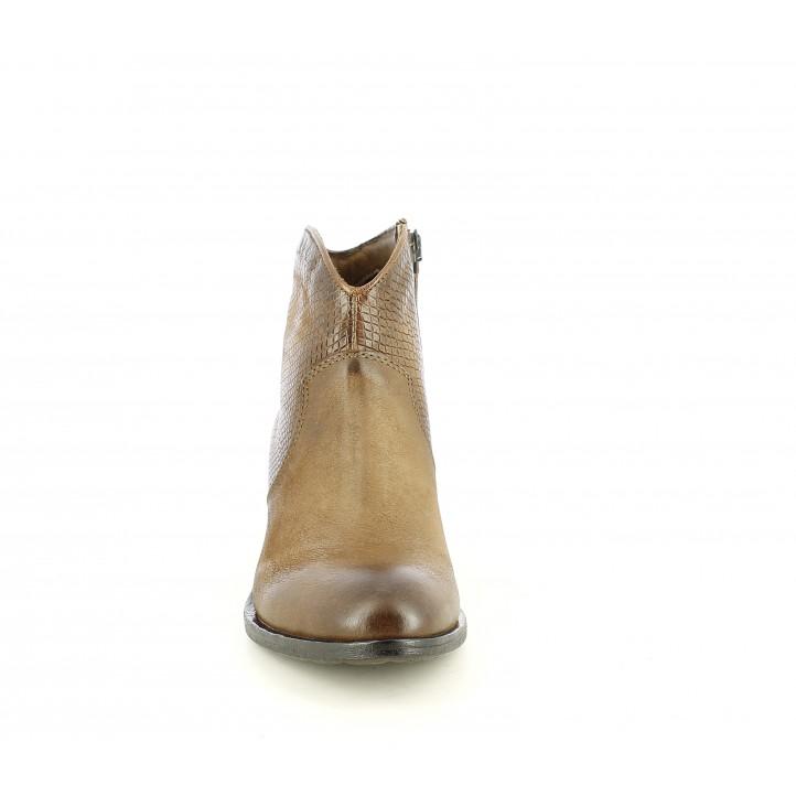 Botines tacón Mjus marrones de piel estilo cow boy - Querol online