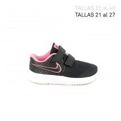 Zapatillas deporte Nike star runner negra con detalles rosa flúor - Querol online