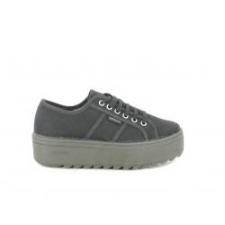 Zapatillas lona Victoria plataforma negra cordones - Querol online