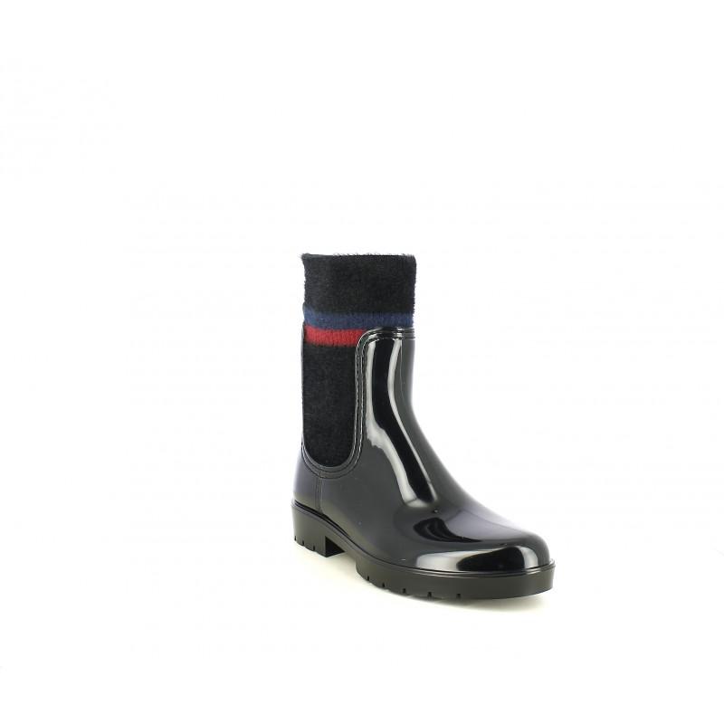 color rápido brillante en brillo mejor autentico Botas agua Tommy Hilfiger negras con calcetín