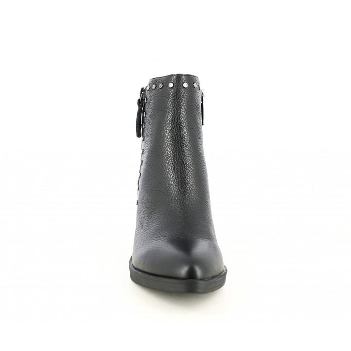 Botines Carmela negro de piel con tachas en los laterales - Querol online