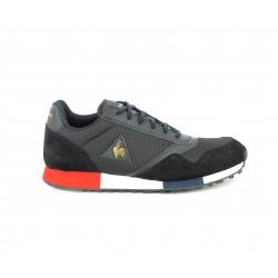 Zapatillas deportivas Le Coq Sportif negra combinada en textil ,piiel y nailon - Querol online
