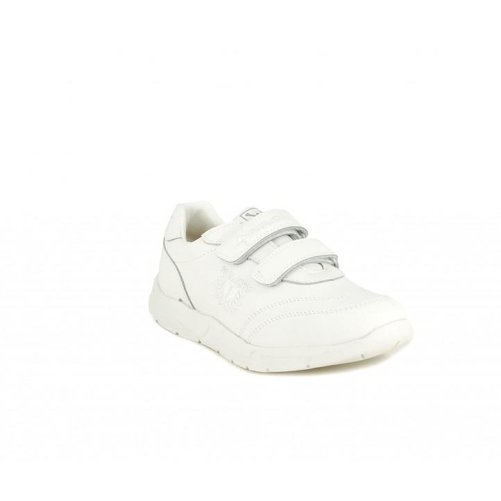 Zapatillas deporte Pablosky blancas con velcro y plantilla de piel - Querol online