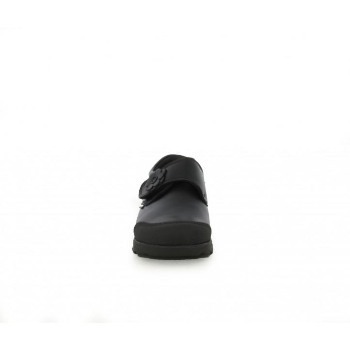 Zapatos Pablosky de piel negros con velcro y flor - Querol online